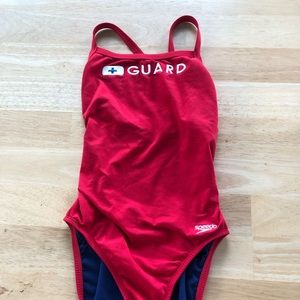 Red Lifeguard Swimsuit